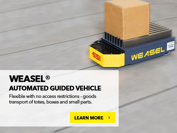 WEASEL® AUTOMATED GUIDED VEHICLE. Flexible with no access restrictions - goods transport of totes, boxes and small parts