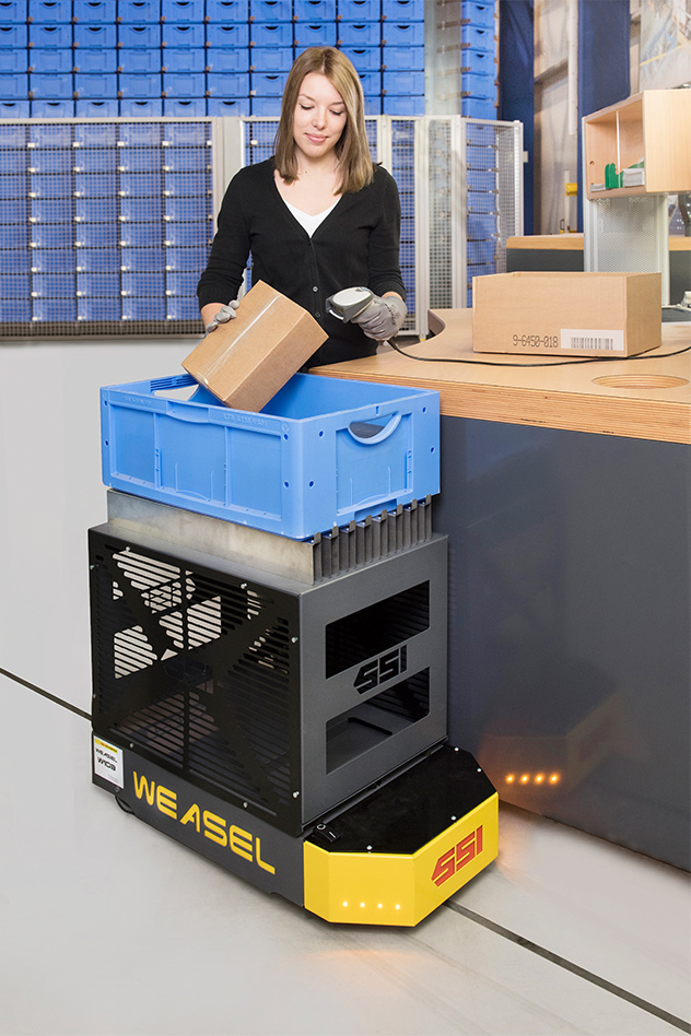 WEASEL® Automated Guided Vehicle. Contact us! SSI Schaefer. www.schaefershelving.com