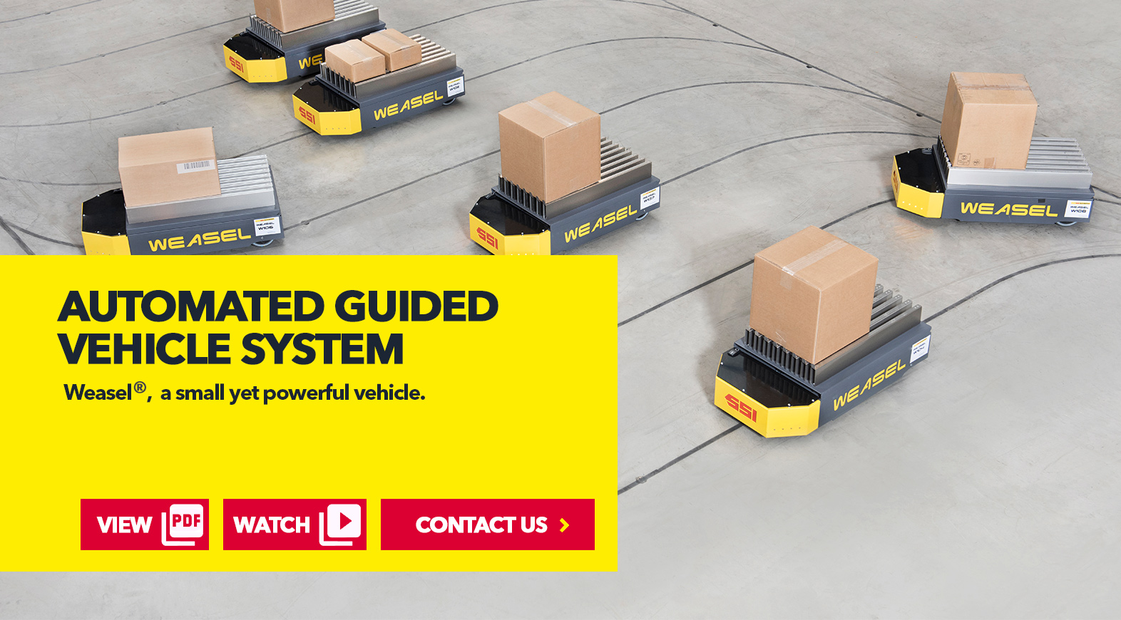 WEASEL® Automated Guided Vehicle by SSI Schaefer USA Download Guide, Watch Video, Contact Us. www.chaefershelving.com