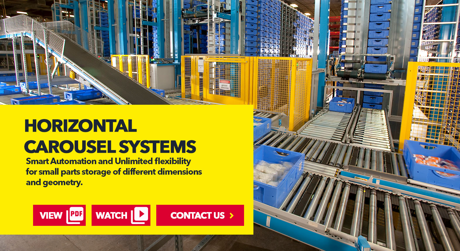 Horizontal Casousel Systems by SSI Schaefer USA Download Guide, Watch Video, Contact Us. www.chaefershelving.com