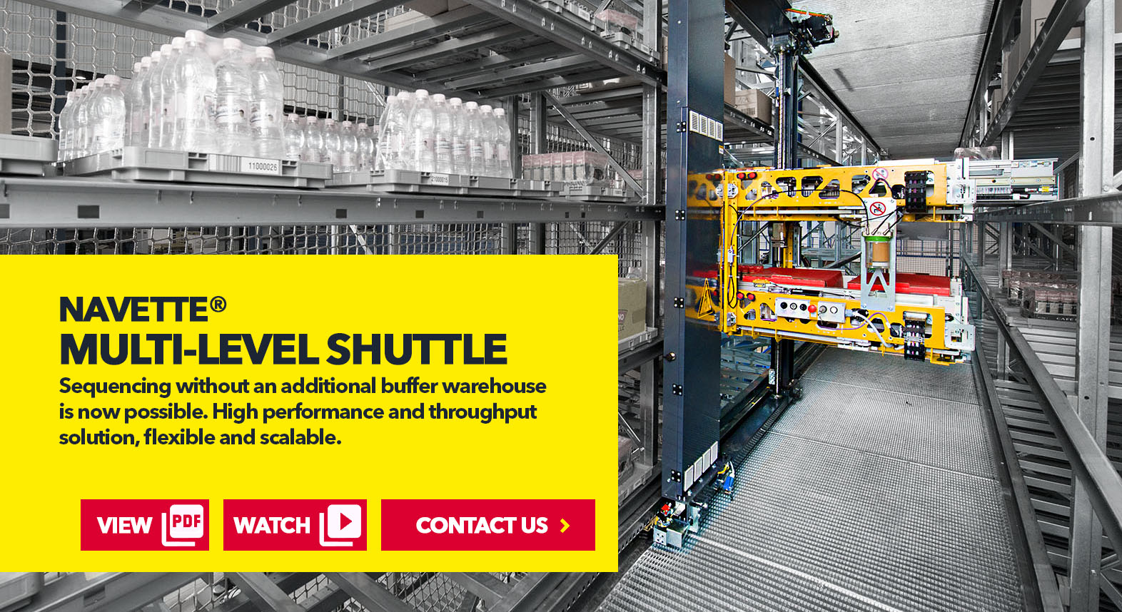 Navette Multi-Level Shuttle Systems by SSI Schaefer USA Download Guide, Watch Video, Contact Us. www.chaefershelving.com