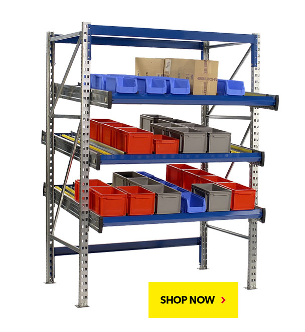 BUY NOW! KDR Carton Flow Shelving. SSI Schaefer. Proudly made in USA.