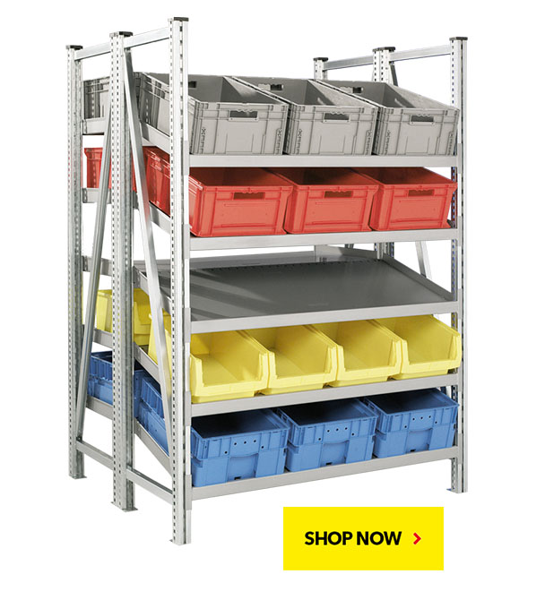 BUY NOW! R7000 On-Line Gravity Shelving Systems. SSI Schaefer. Proudly made in USA.
