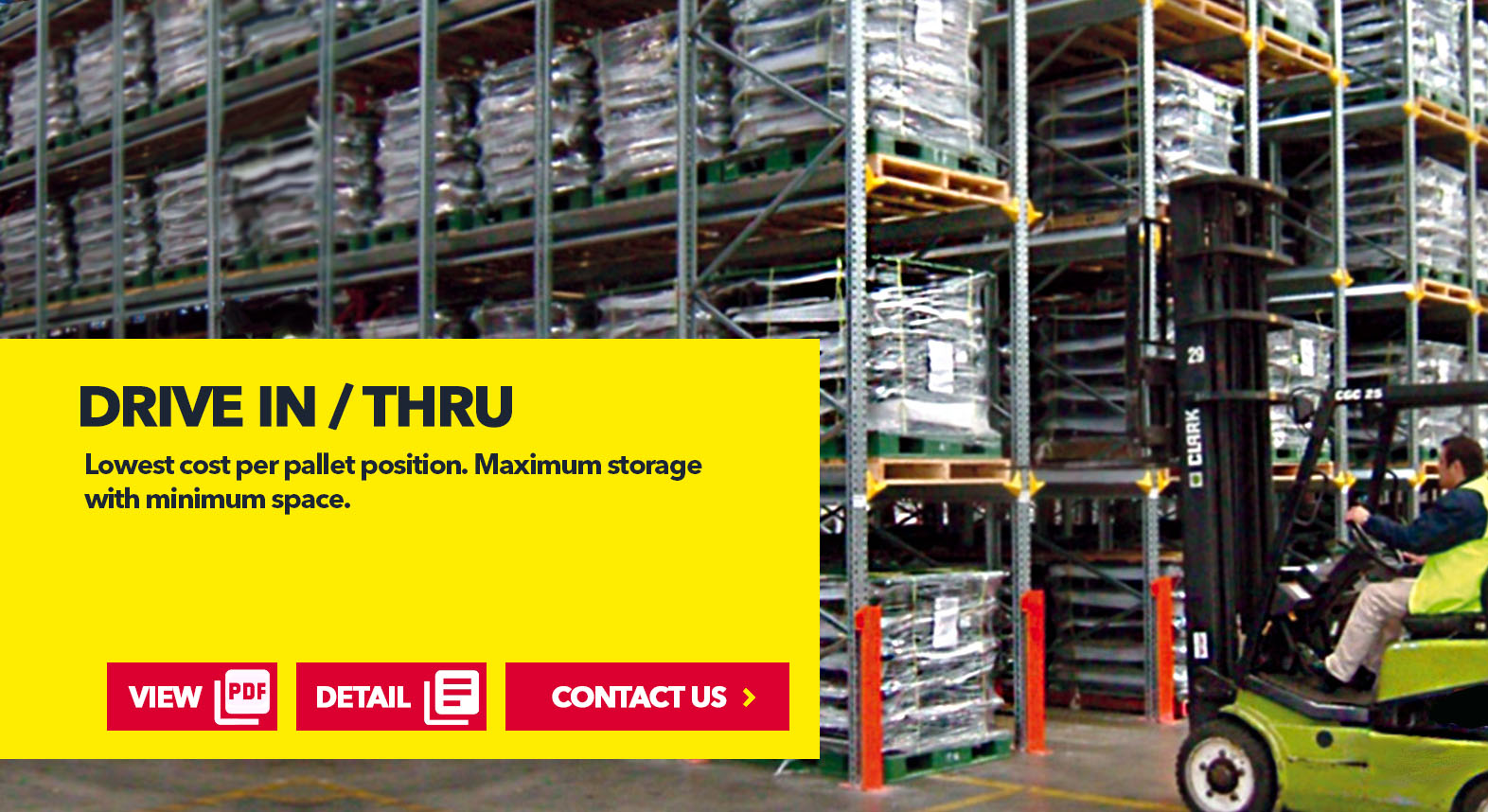 Drive in/ Drive Thru Rack System by SSI Schaefer USA Download Guide, Watch Video, Contact Us. www.chaefershelving.com