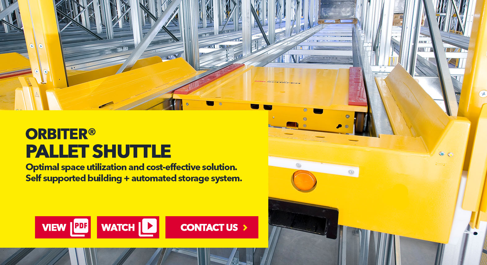 Orbiter Pallet Shuttle by SSI Schaefer USA Download Guide, Watch Video, Contact Us. www.chaefershelving.com