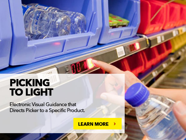 PICK TO LIGHT. Electronic Visual Guidance that Directs Picker to a Specific Product.