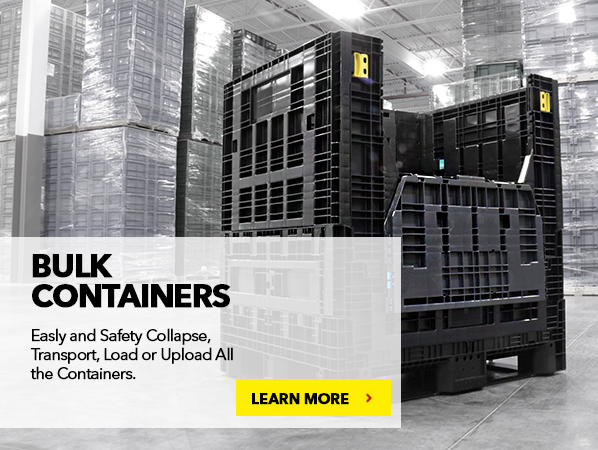 BULK CONTAINERS. Easly and safety collapse, transport, load or upload all the containers.
