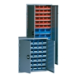 Bin Cabinets with doors protect small parts from theft or dust accumulation, by Schaefer Shelving