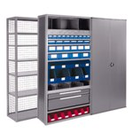 R4000 Extra-Heavy Duty Shelving units, with accessories like drawers, panels, dividers, doors, by SSI Schaefer