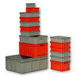 Stackable Containers for multiple applications, like Food Processing, Warehouse Storage, Automation Systems, by SSI Schaefer