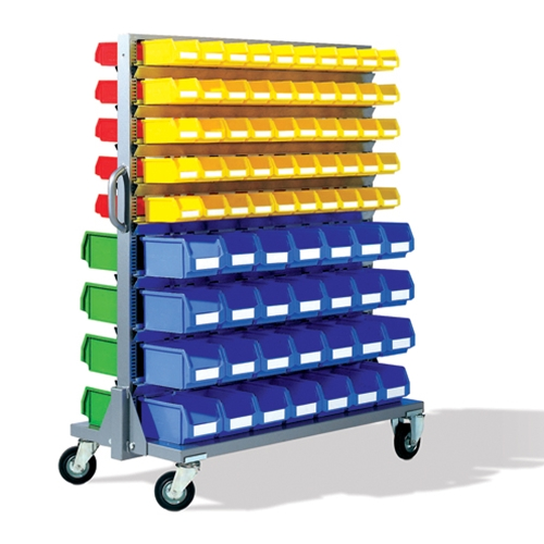 Mobile Bin Rack with Plastic Bins, by Schaefer Shelving