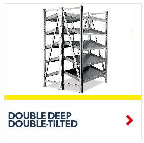 Schaefer Double Deep Double Tilted On Line Shelving for all your assembly line picking and storage needs, by SSI Schaefer