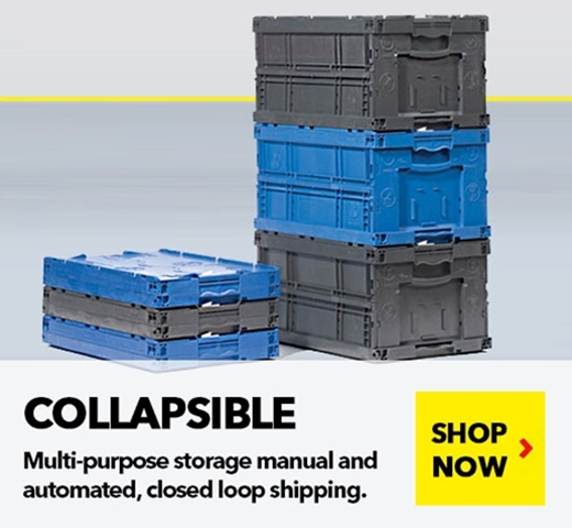 Collapsible Containers to minimize return freights and empty storage costs, by SSI Schaefer