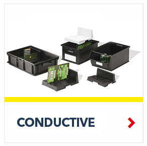 Conductive Containers to protect your electronic components from electrostatic fields, by SSI Schaefer