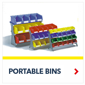 Bench Rack Portable Bin System with plastic bins by Schaefer Shelving