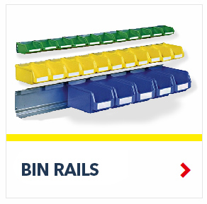 Bin Rail System with Plastic Bins, by Schaefer Shelving