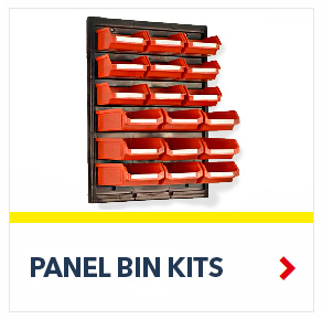 Perma-Fix™ Louvered Panel Bin Kits in red color, by Schaefer Shelving