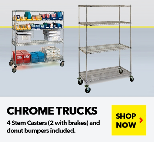 Chrome Wire Shelving Trucks for Medical, Pharmaceutical, Retail, Food applications, from SSI Schaefer