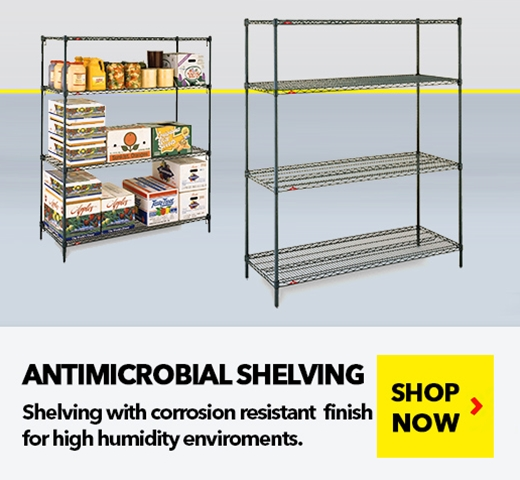 Antimicrobial Wire Shelving Units for Medical, Pharmaceutical, Retail, Food applications, from SSI Schaefer