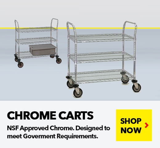 Chrome Wire Shelving Carts for Medical, Pharmaceutical, Retail, Food applications, from SSI Schaefer
