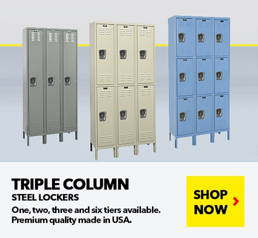 Triple Column Single Tier Steel Lockers for all your School, Wardrobe, Locker Room needs, from SSI Schaefer