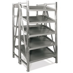 Double Deep Straight-Tilted Starter On-Line Shelving by SSI Schaefer