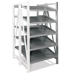 Double Deep Straight-Tilted Add-on On-Line Shelving by SSI Schaefer