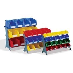 Bench Rack Portable Bin System with plastic bins, by Schaefer Shelving