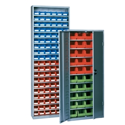 Bin Cabinets with plastic bins keep small parts organized and always handy, by Schaefer Shelving