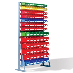 Single Side Bin Rack with Plastic Bins, by Schaefer Shelving