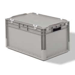 Light Duty Straight Wall Containers with Lid can be locked with pins for secured transportation, by SSI SCHAEFER