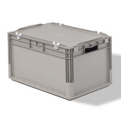 Light Duty Straight Wall Containers with 1-pc Hinged Lid can be locked with pins or sealed for secured transportation, by SSI SCHAEFER