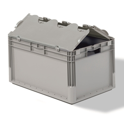 Light Duty Straight Wall Containers with 2-pc Hinged Lid can be locked with pins or sealed for secured transportation, by SSI SCHAEFER
