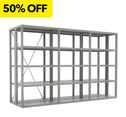 "84""H x 36""W x 18""D R4000 Extra Heavy Duty Shelving Kit 3 Double Deep Units  - 30 Shelves  by SSI Schaefer"