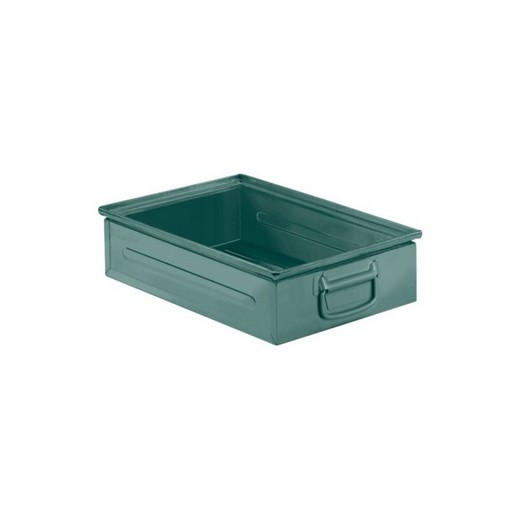 "Looking: 19""L x 13""W x 05""H 14-6 Straight Wall Stackable Steel Green 