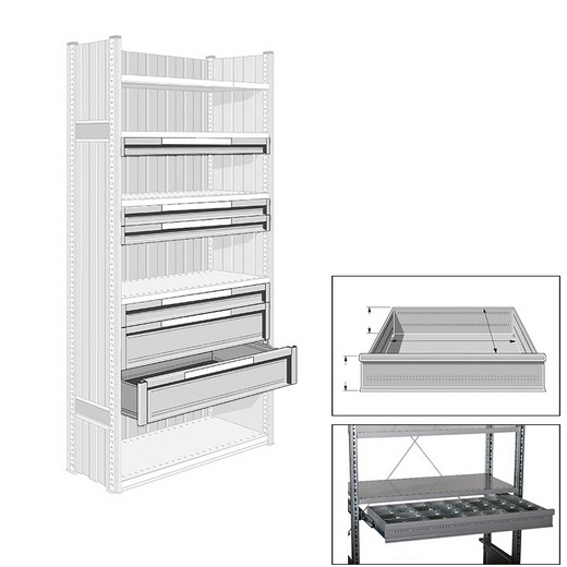 "Looking: 08""H x 50""W x 24""D R3000 Industrial Shelving Drawer 