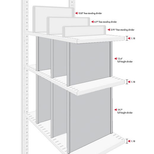 "Looking: 20""H x 18.5""D R3000 Shelving Full-Height Self Dividers 