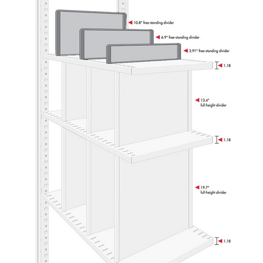 "Looking: 04""H x 16.5""D R3000 Shelving Free Standing Self Plastic Dividers 