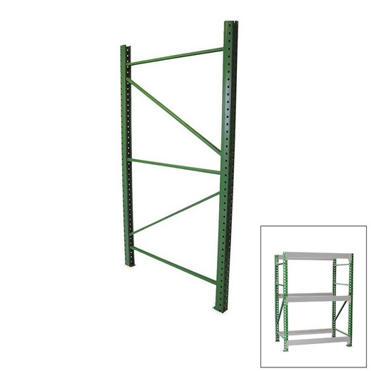 "Looking: 120""H x 42""D Pallet Rack Frames 3"" x 1.5"" Green 