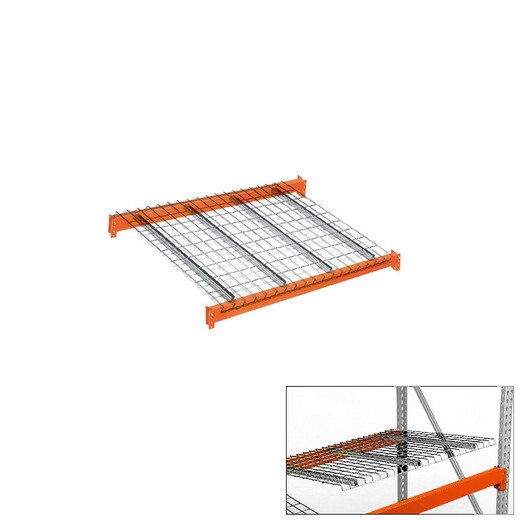"Looking: 48""W x 42""D Pallet Rack Beam Level With Wire Decking 