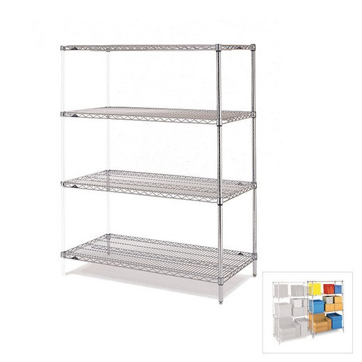 "Looking: 74""H x 42""W x 24""D Chrome Wire Shelving Add-On 4 Shelves 