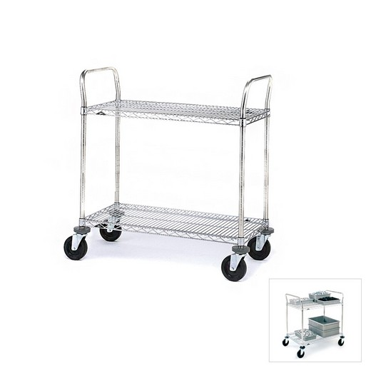"Looking: 39""H x 27""W x 16""D Chrome Wire Cart 2 Shelves 