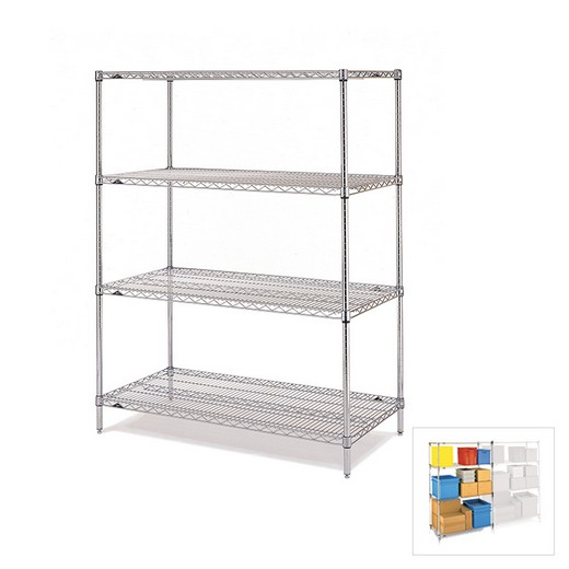 "Looking: 63""H x 42""W x 21""D Chrome Wire Shelving Starter 4 Shelves 