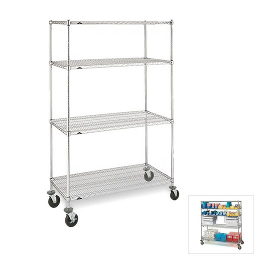 "Looking: 54""H x 48""W x 18""D Chrome Wire Trucks 4 Shelves 