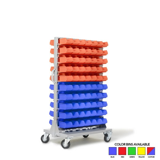 "Looking: 57""H x 32.5""W x 21""D Mobile Bin Rack 140 Bins 