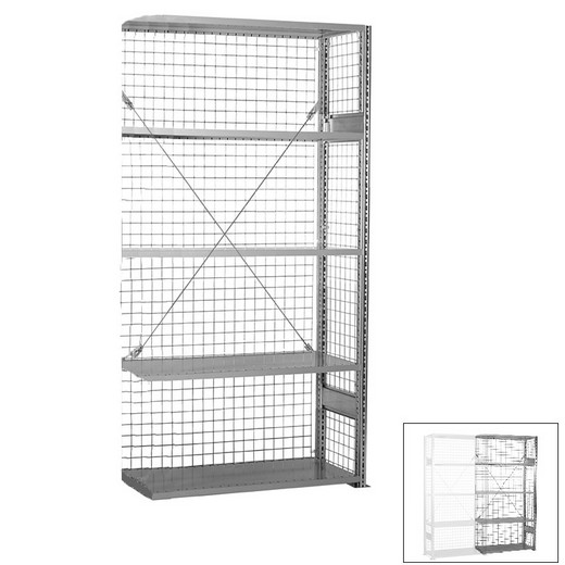 "Looking: 85""H x 39""W x 16""D R3000 Standard Add-on Closed Wire Shelving 5 Levels - Galvanized 