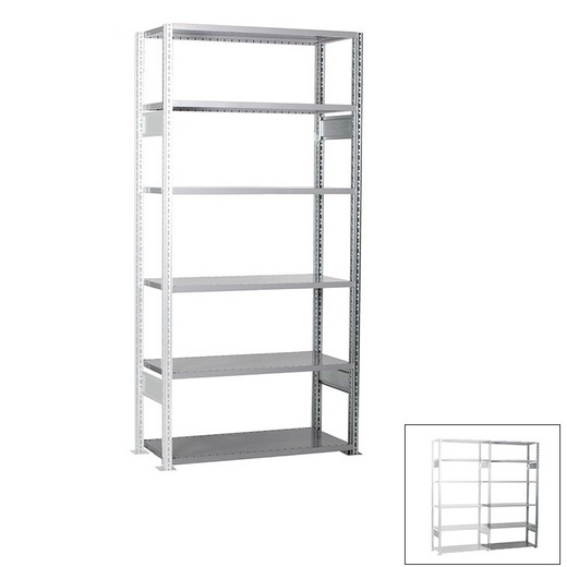 "Looking: 98""H x  51""W x 16""D R3000 Standard Add-on Open Shelving 6 Levels - Galvanized 