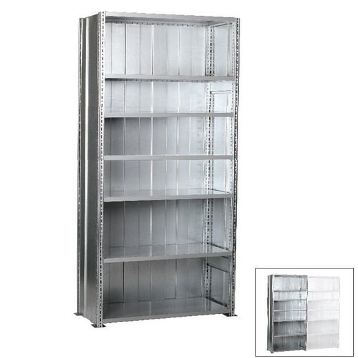 "Looking: 118""H x 48""W x 18""D R3000 Heavy Duty Starter Closed Solid Shelving 7 Levels - Galvanized 