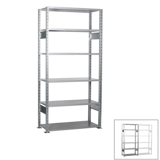 "Looking: 98""H x  39""W x 12""D R3000 Standard Starter Open Shelving 6 Levels - Galvanized 