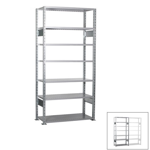 "Looking: 118""H x 39""W x 16""D R3000 Standard Starter Open Shelving 7 Levels - Galvanized 